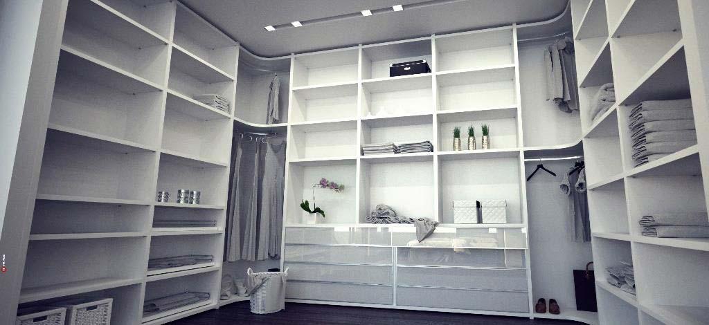 חדר ארונות לבן