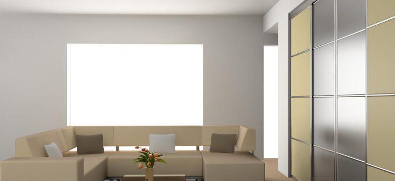ארון הזזה מודרני בשילוב זכוכית
