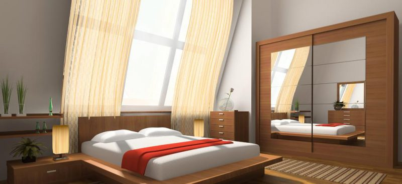 ארונות מעוצבים עם מראה בחדר שינה
