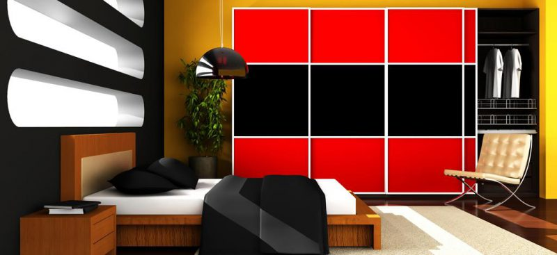 ארון הזזה פינתי מודרני אדום שחור